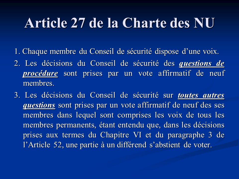 Article 27 de la Charte des NU 1. Chaque membre du Conseil de sécurité dispose dune voix. 2. Les décisions du Conseil de sécurité des questions de pro