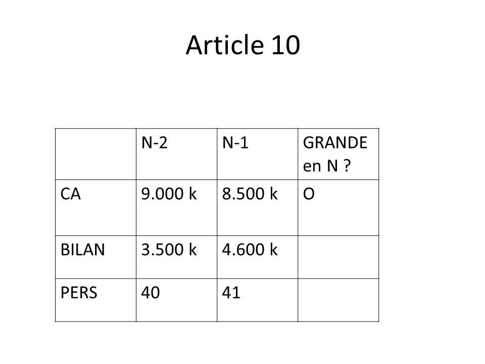 Article 10 N-2N-1 GRANDE en N ? CA9.000 k8.500 k O BILAN3.500 k4.600 k PERS4041