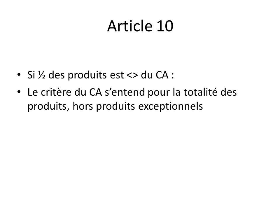 Article 10 Si ½ des produits est <> du CA : Le critère du CA sentend pour la totalité des produits, hors produits exceptionnels