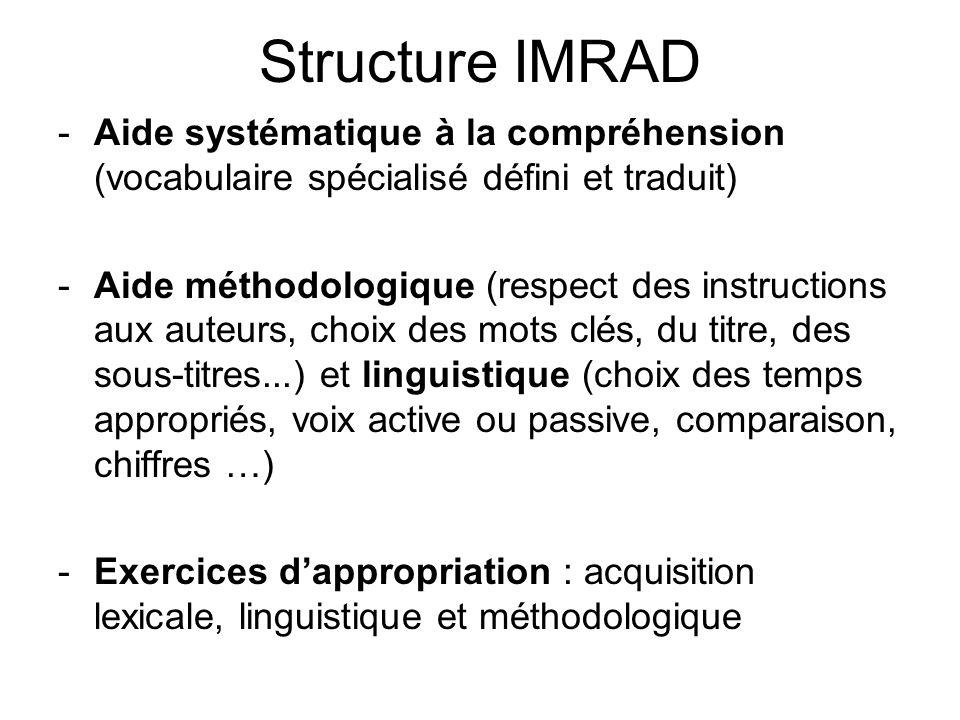 Structure IMRAD -Aide systématique à la compréhension (vocabulaire spécialisé défini et traduit) -Aide méthodologique (respect des instructions aux au