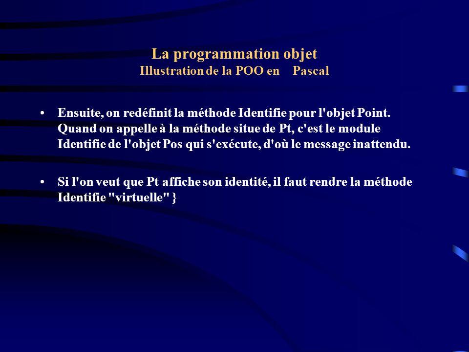 La programmation objet Illustration de la POO en Pascal Ensuite, on redéfinit la méthode Identifie pour l'objet Point. Quand on appelle à la méthode s