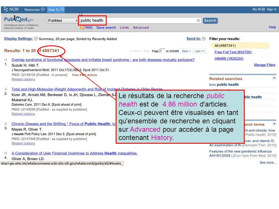 Le résultats de la recherche public health est de 4.86 million d articles.