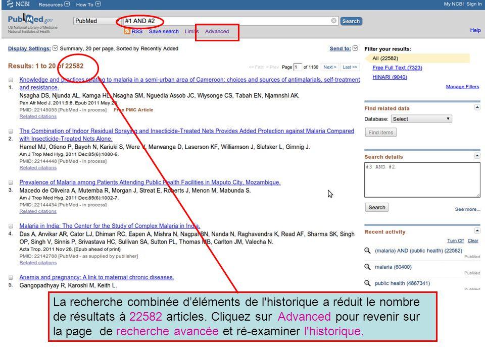 La recherche combinée déléments de l historique a réduit le nombre de résultats à 22582 articles.