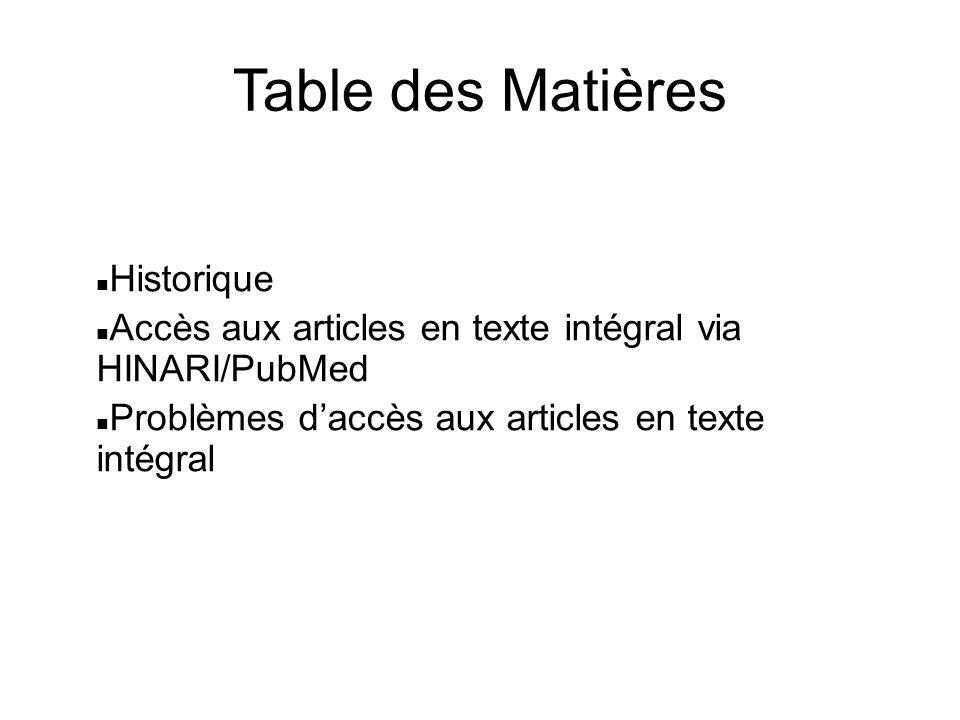 Table des Matières Historique Accès aux articles en texte intégral via HINARI/PubMed Problèmes daccès aux articles en texte intégral