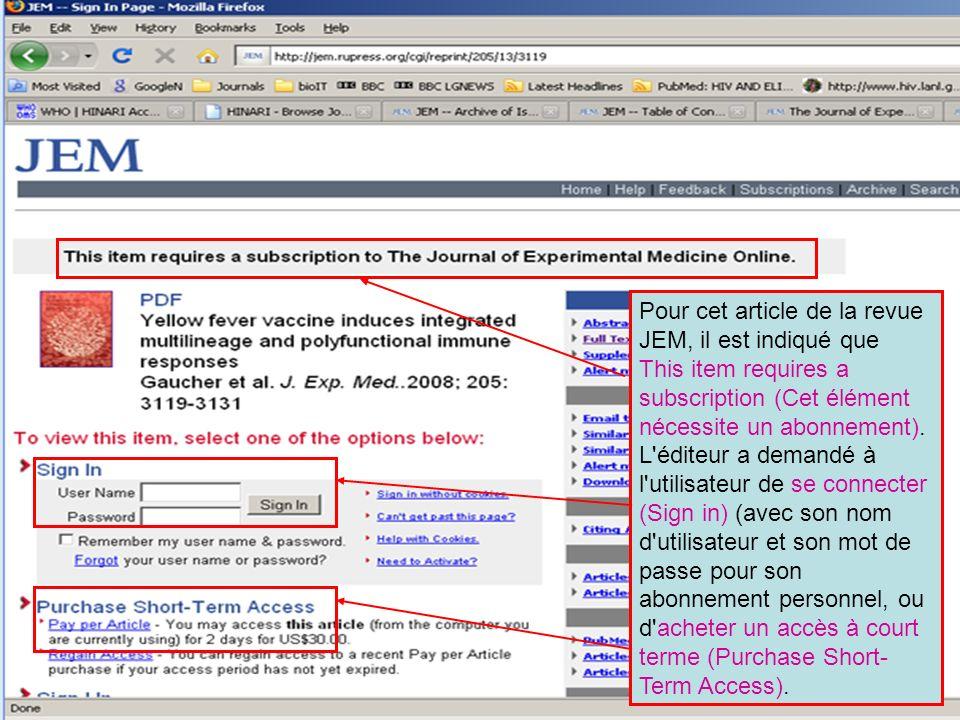 Pour cet article de la revue JEM, il est indiqué que This item requires a subscription (Cet élément nécessite un abonnement).