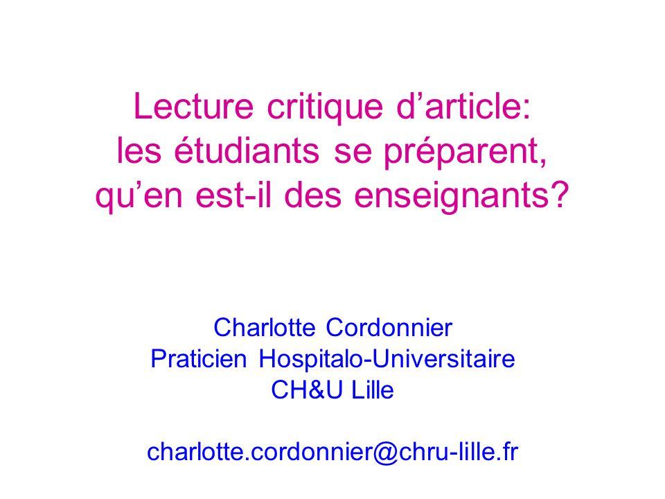 Lecture critique darticle: les étudiants se préparent, quen est-il des enseignants.