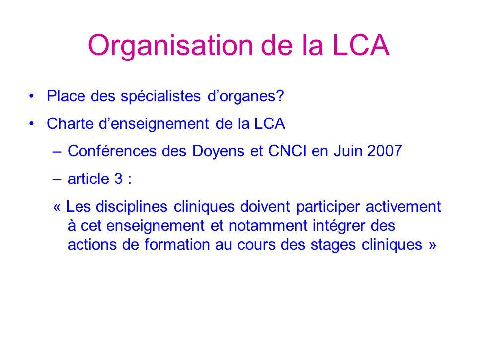 Organisation de la LCA Place des spécialistes dorganes.