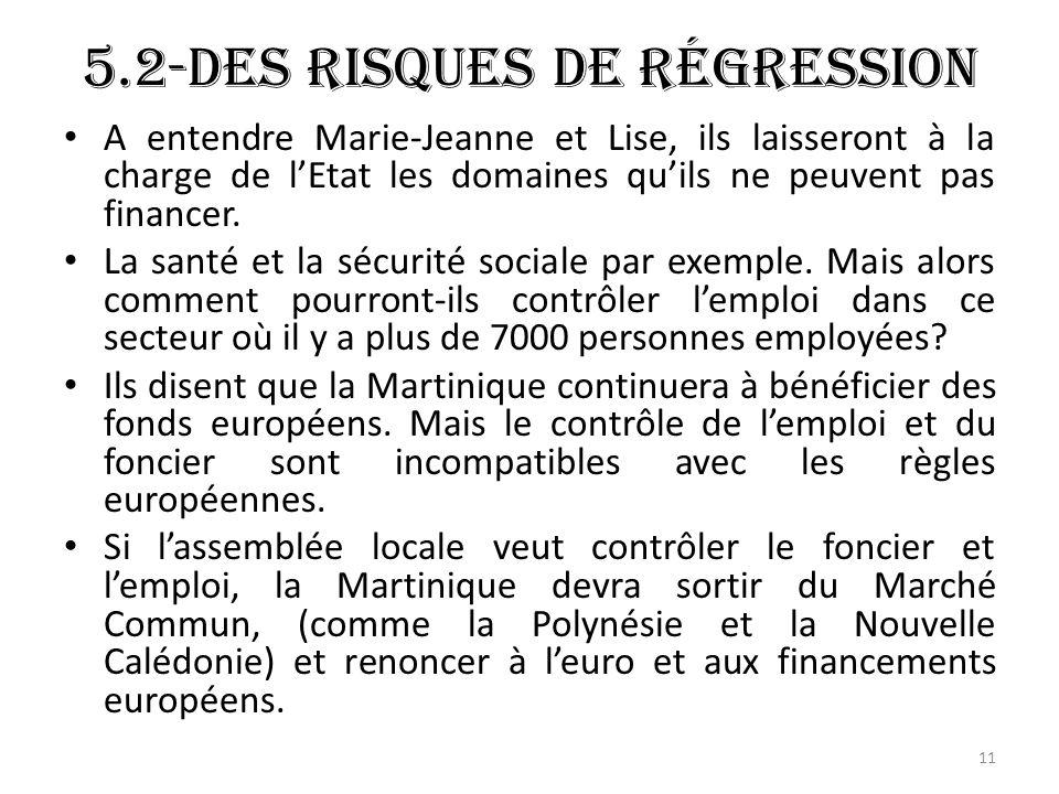 5.2-Des risques de régression A entendre Marie-Jeanne et Lise, ils laisseront à la charge de lEtat les domaines quils ne peuvent pas financer.