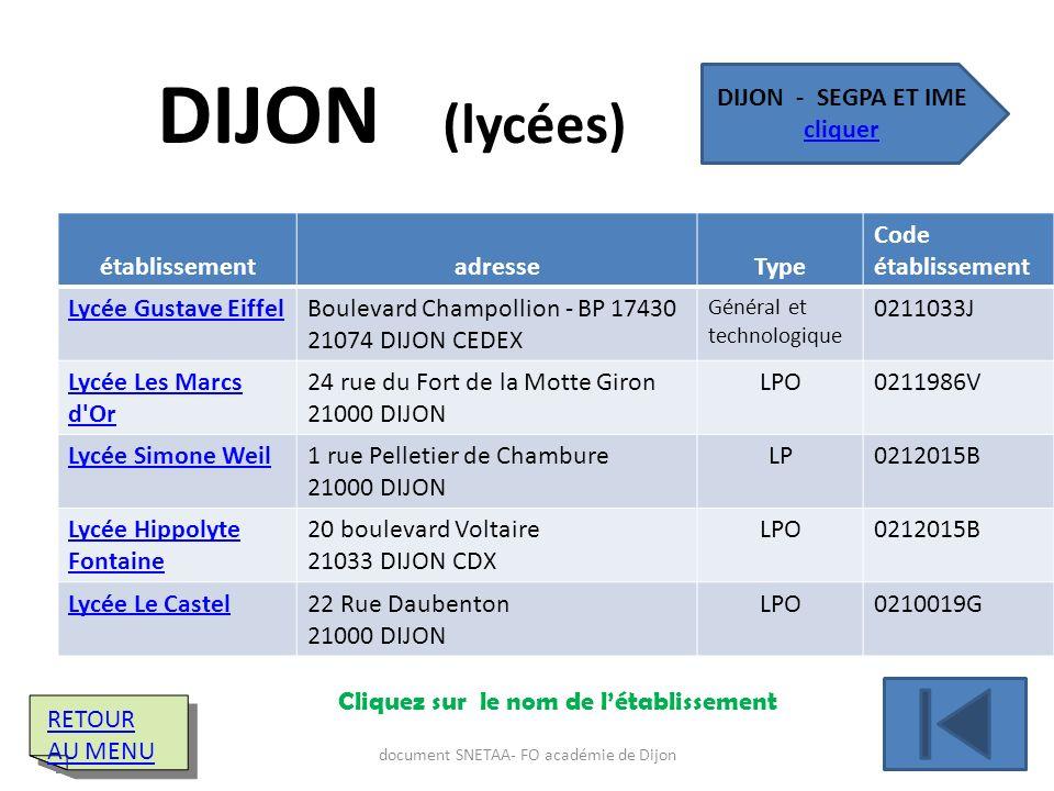 établissementadresseType Code établissement Lycée Gustave EiffelBoulevard Champollion - BP 17430 21074 DIJON CEDEX Général et technologique 0211033J L