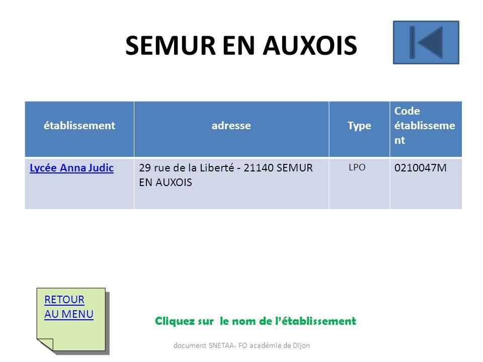 établissementadresseType Code établisseme nt Lycée Anna Judic29 rue de la Liberté - 21140 SEMUR EN AUXOIS LPO 0210047M RETOUR AU MENU RETOUR AU MENU S