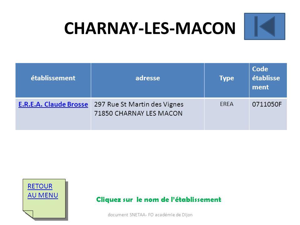 établissementadresseType Code établisse ment E.R.E.A. Claude Brosse297 Rue St Martin des Vignes 71850 CHARNAY LES MACON EREA 0711050F RETOUR AU MENU R