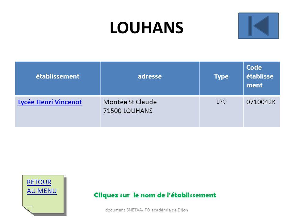 établissementadresseType Code établisse ment Lycée Henri VincenotMontée St Claude 71500 LOUHANS LPO 0710042K RETOUR AU MENU RETOUR AU MENU LOUHANS Cli