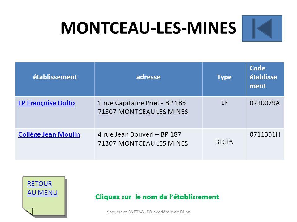 établissementadresseType Code établisse ment LP Françoise Dolto1 rue Capitaine Priet - BP 185 71307 MONTCEAU LES MINES LP 0710079A Collège Jean Moulin
