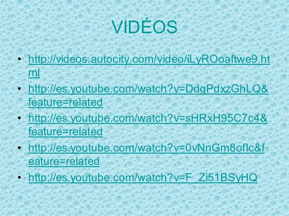 VIDÉOS http://videos.autocity.com/video/iLyROoaftwe9.ht mlhttp://videos.autocity.com/video/iLyROoaftwe9.ht ml http://es.youtube.com/watch?v=DdgPdxzGhLQ& feature=relatedhttp://es.youtube.com/watch?v=DdgPdxzGhLQ& feature=related http://es.youtube.com/watch?v=sHRxH95C7c4& feature=relatedhttp://es.youtube.com/watch?v=sHRxH95C7c4& feature=related http://es.youtube.com/watch?v=0vNnGm8ofIc&f eature=relatedhttp://es.youtube.com/watch?v=0vNnGm8ofIc&f eature=related http://es.youtube.com/watch?v=F_Zi51BSyHQ