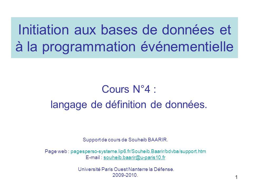 Initiation aux bases de données et à la programmation événementielle Cours N°4 : langage de définition de données. Support de cours de Souheib BAARIR.