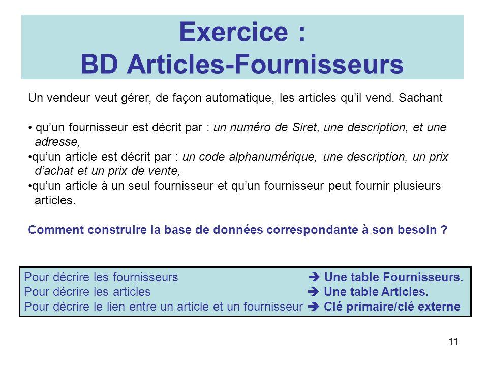 11 Exercice : BD Articles-Fournisseurs Un vendeur veut gérer, de façon automatique, les articles quil vend. Sachant quun fournisseur est décrit par :
