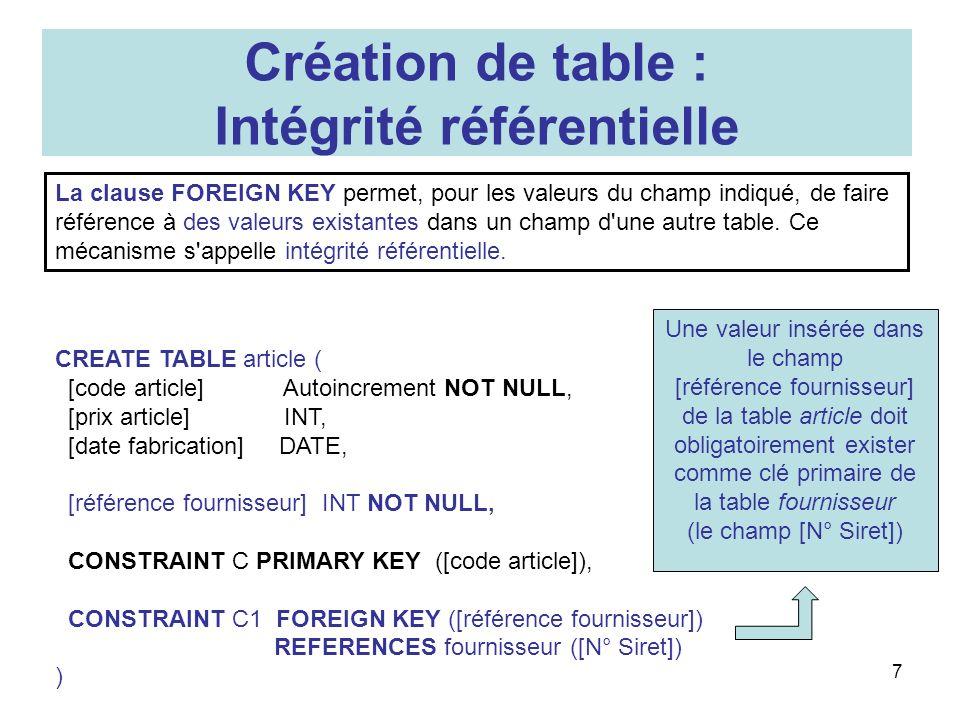 8 Modification de table : syntaxe générale (simplifié) ALTER TABLE table ADD COLUMN champ type[(taille)] [NOT NULL] | ALTER COLUMN champ type[(size)] | ADD CONSTRAINT … | DROP COLUMN champ | DROP CONSTRAINT nom SQL (de ACCESS) permet de modifier le schéma dune table par linstruction ALTER TABLE, suivie de la spécification de lopération à effectuer.