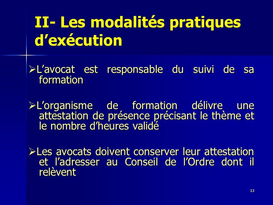 13 II- Les modalités pratiques dexécution Lavocat est responsable du suivi de sa formation Lavocat est responsable du suivi de sa formation Lorganisme