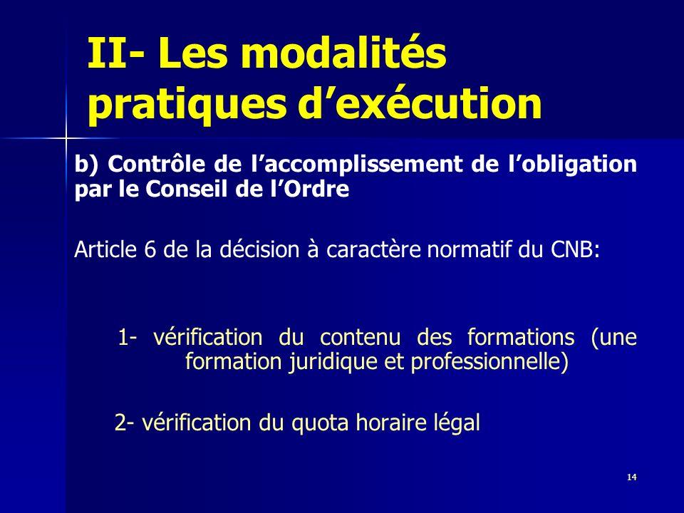 14 II- Les modalités pratiques dexécution b) Contrôle de laccomplissement de lobligation par le Conseil de lOrdre Article 6 de la décision à caractère