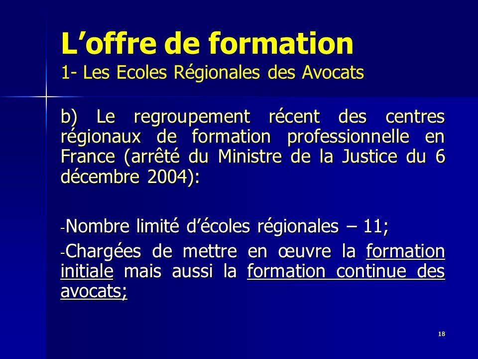 18 Loffre de formation 1- Les Ecoles Régionales des Avocats b) Le regroupement récent des centres régionaux de formation professionnelle en France (ar