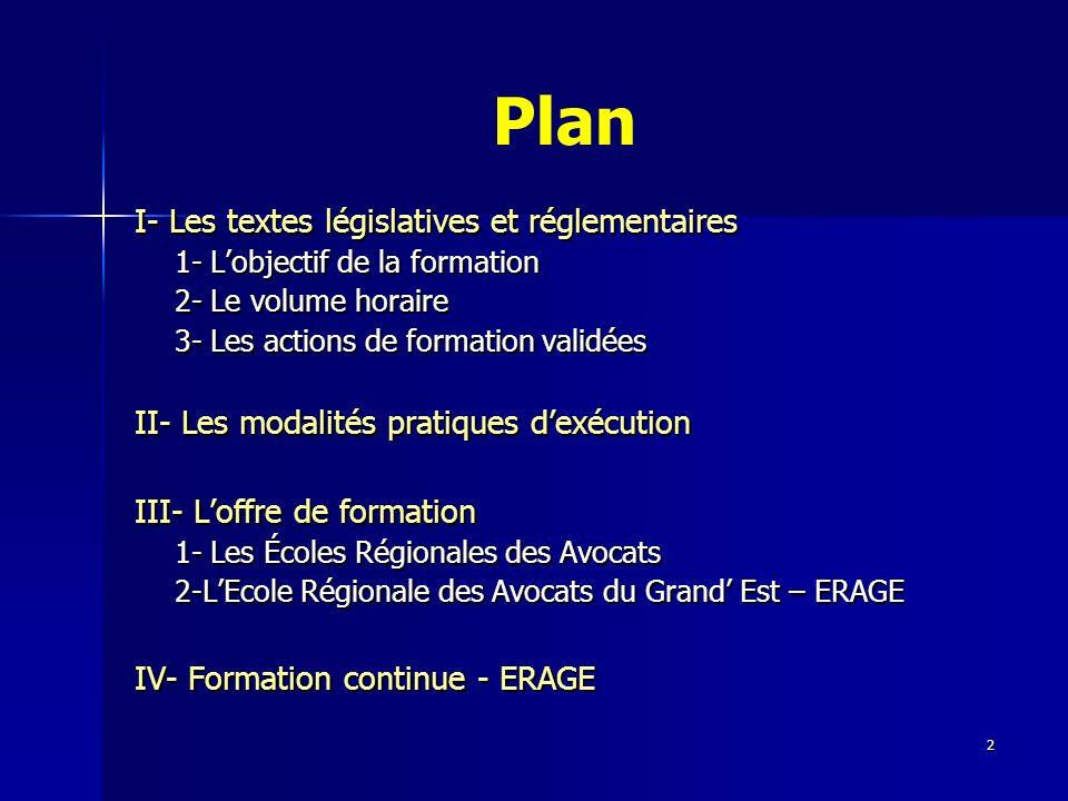2 Plan I- Les textes législatives et réglementaires 1- Lobjectif de la formation 2- Le volume horaire 3- Les actions de formation validées II- Les mod