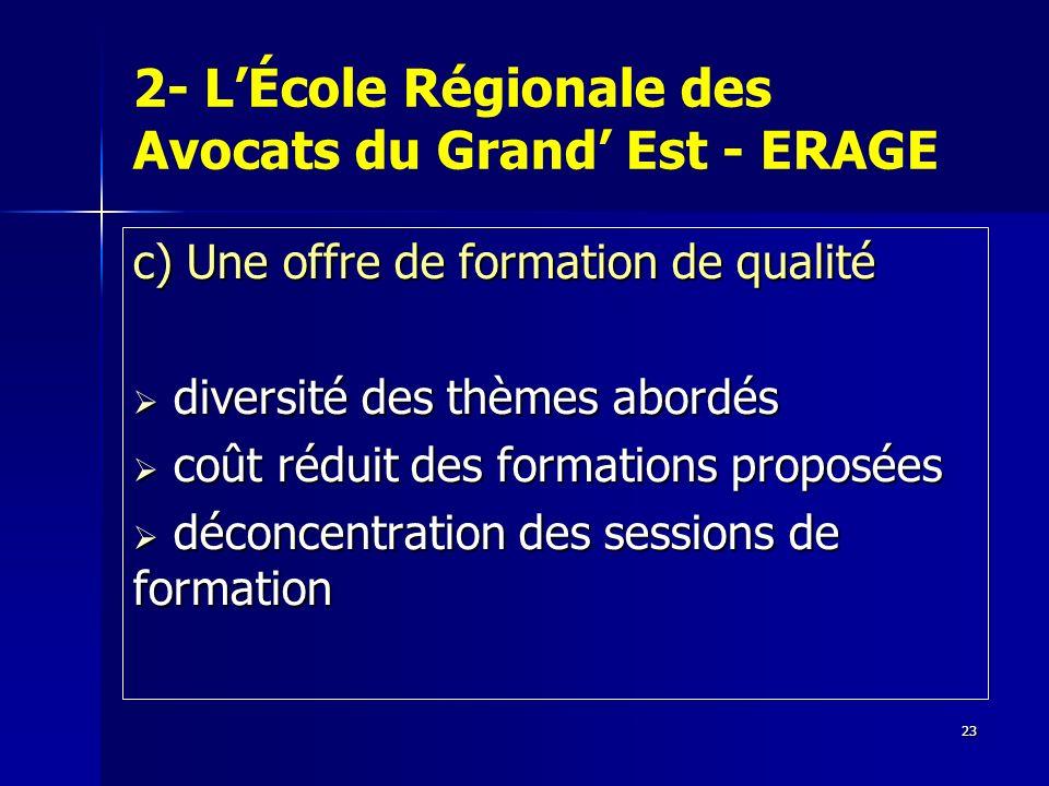 23 2- LÉcole Régionale des Avocats du Grand Est - ERAGE c) Une offre de formation de qualité diversité des thèmes abordés diversité des thèmes abordés