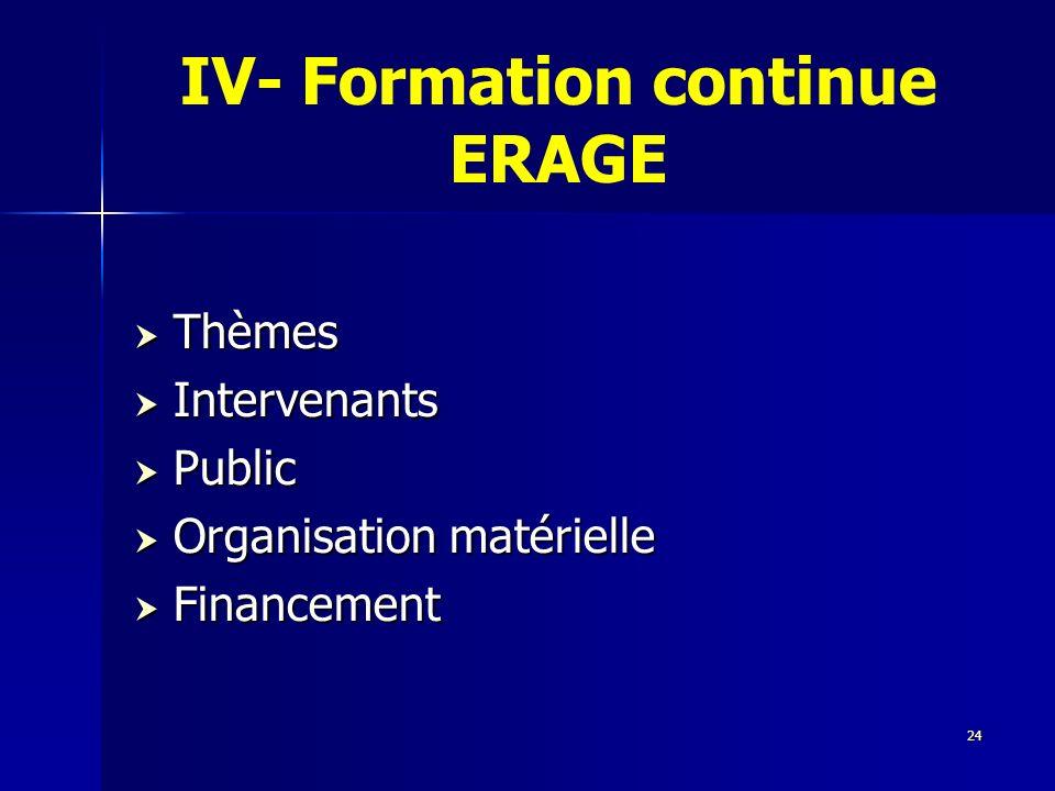24 IV- Formation continue ERAGE Thèmes Thèmes Intervenants Intervenants Public Public Organisation matérielle Organisation matérielle Financement Fina