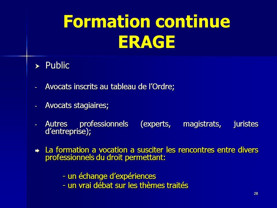 28 Formation continue ERAGE Public Public - Avocats inscrits au tableau de lOrdre; - Avocats stagiaires; - Autres professionnels (experts, magistrats,