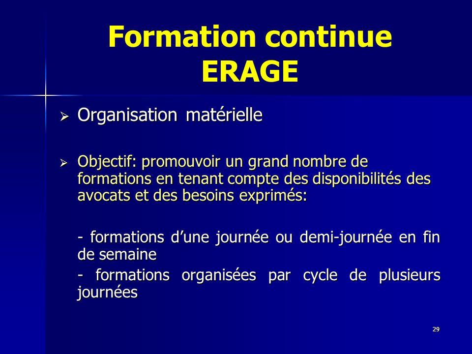 29 Formation continue ERAGE Organisation matérielle Organisation matérielle Objectif: promouvoir un grand nombre de formations en tenant compte des di