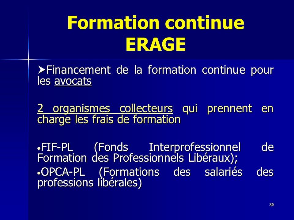 30 Formation continue ERAGE Financement de la formation continue pour les avocats Financement de la formation continue pour les avocats 2 organismes c