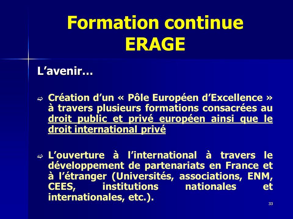 33 Formation continue ERAGE Lavenir… Création dun « Pôle Européen dExcellence » à travers plusieurs formations consacrées au droit public et privé eur