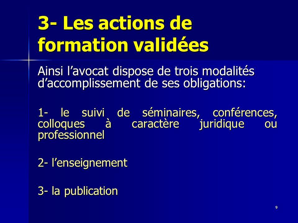 9 3- Les actions de formation validées Ainsi lavocat dispose de trois modalités daccomplissement de ses obligations: 1- le suivi de séminaires, confér