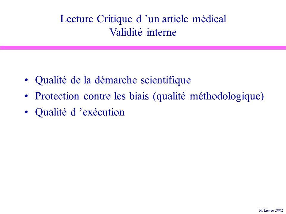 Lecture Critique d un article médical Validité interne Qualité de la démarche scientifique Protection contre les biais (qualité méthodologique) Qualité d exécution M Lièvre 2002