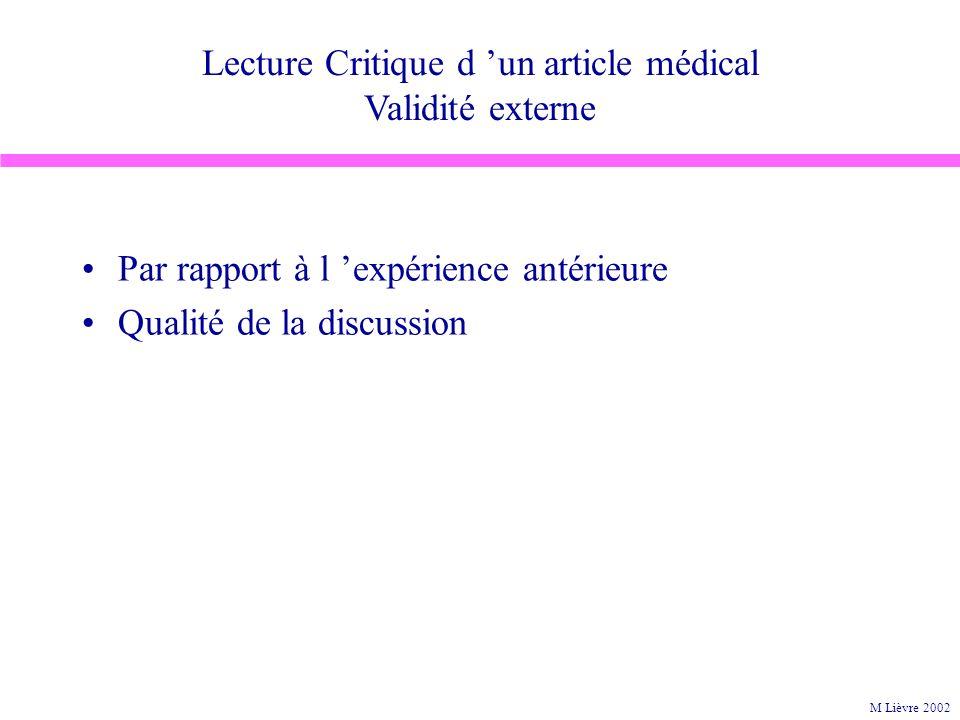 Lecture Critique d un article médical Validité externe Par rapport à l expérience antérieure Qualité de la discussion M Lièvre 2002