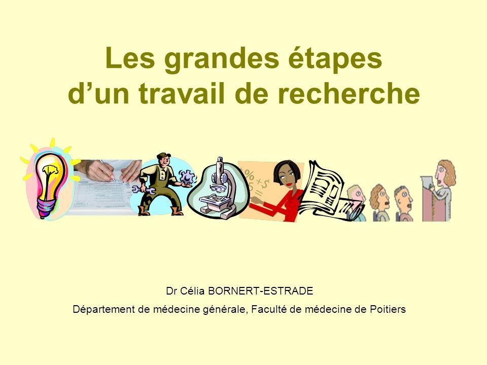 Les grandes étapes dun travail de recherche Dr Célia BORNERT-ESTRADE Département de médecine générale, Faculté de médecine de Poitiers