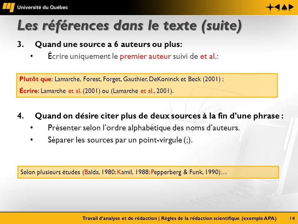 Les références dans le texte (suite) 3.Quand une source a 6 auteurs ou plus: Écrire uniquement le premier auteur suivi de et al.: 4.Quand on désire ci