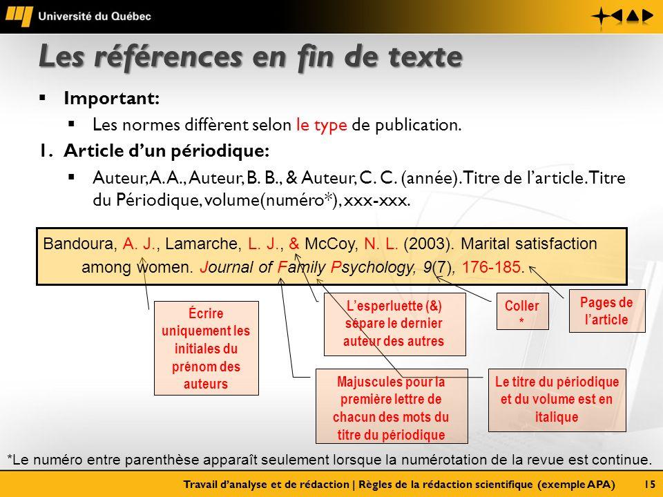Le titre du périodique et du volume est en italique Les références en fin de texte Important: Les normes diffèrent selon le type de publication. 1.Art