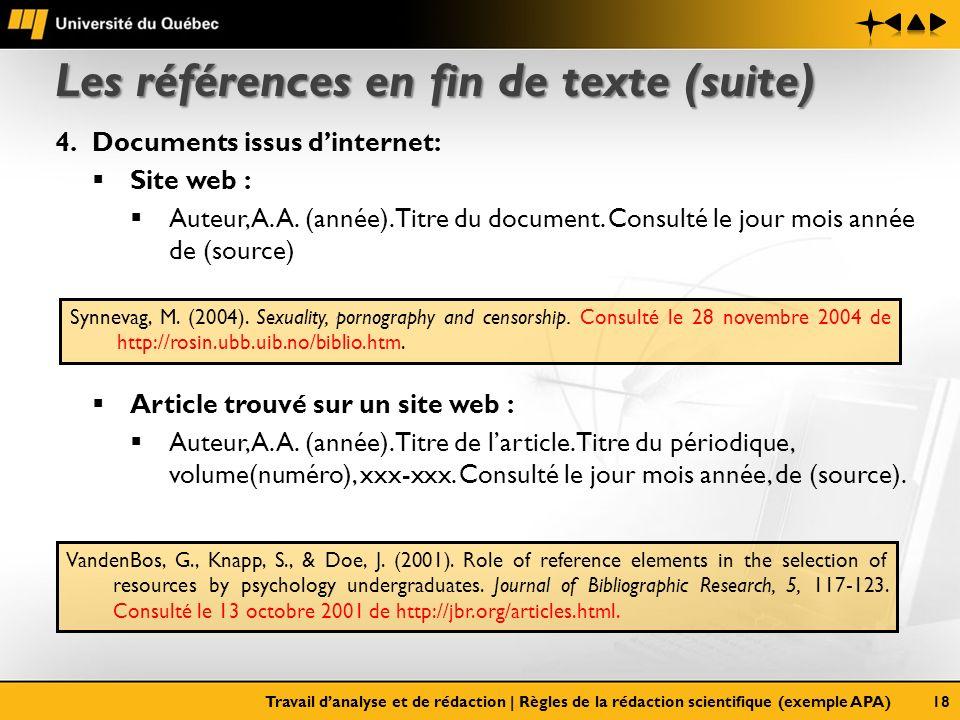 Les références en fin de texte (suite) 4.Documents issus dinternet: Site web : Auteur, A. A. (année). Titre du document. Consulté le jour mois année d