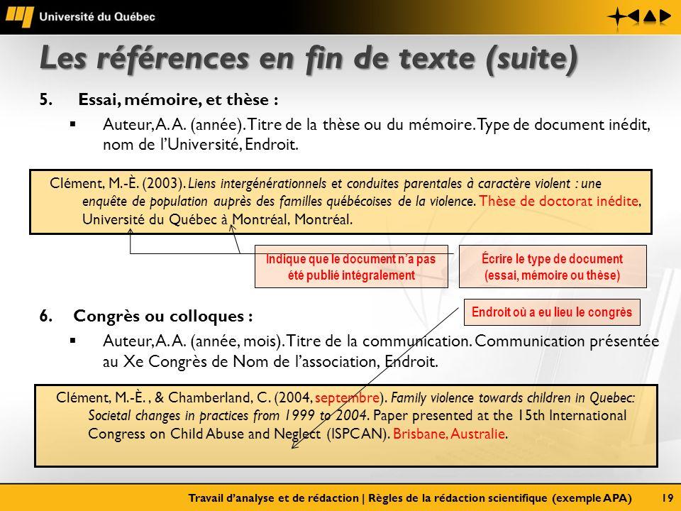 Les références en fin de texte (suite) 5. Essai, mémoire, et thèse : Auteur, A. A. (année). Titre de la thèse ou du mémoire. Type de document inédit,