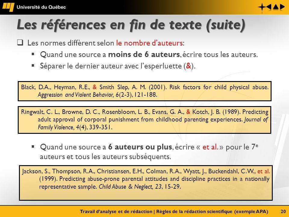 Les références en fin de texte (suite) Les normes diffèrent selon le nombre dauteurs: Quand une source a moins de 6 auteurs, écrire tous les auteurs.