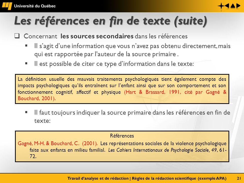 Les références en fin de texte (suite) Concernant les sources secondaires dans les références Il sagit dune information que vous navez pas obtenu dire