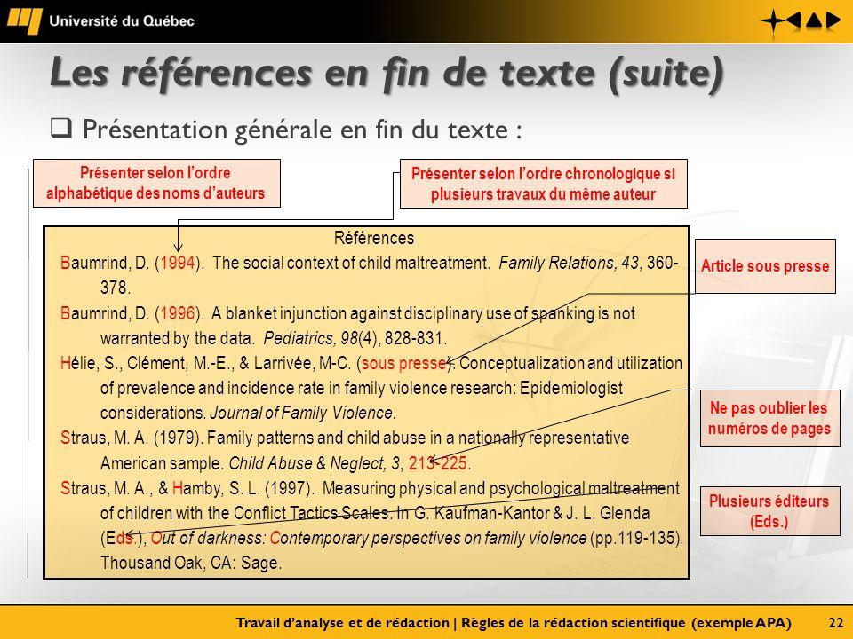 Les références en fin de texte (suite) Présentation générale en fin du texte : Travail danalyse et de rédaction   Règles de la rédaction scientifique