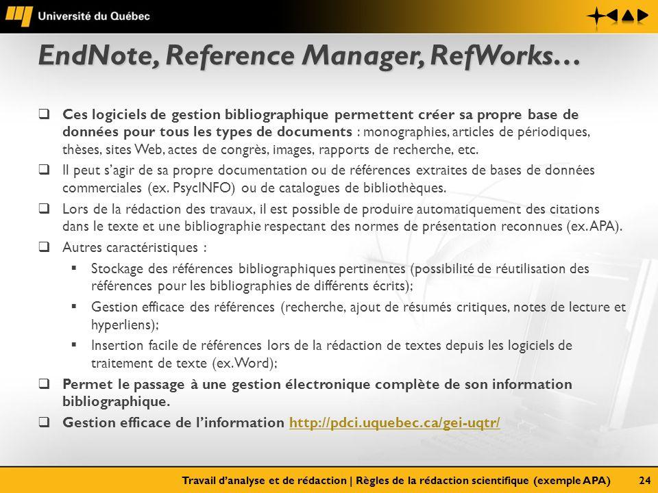 EndNote, Reference Manager, RefWorks… Ces logiciels de gestion bibliographique permettent créer sa propre base de données pour tous les types de docum