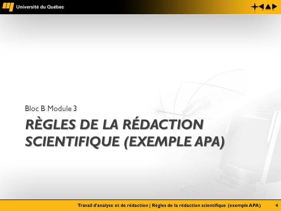 RÈGLES DE LA RÉDACTION SCIENTIFIQUE (EXEMPLE APA) Bloc B Module 3 Travail danalyse et de rédaction   Règles de la rédaction scientifique (exemple APA)