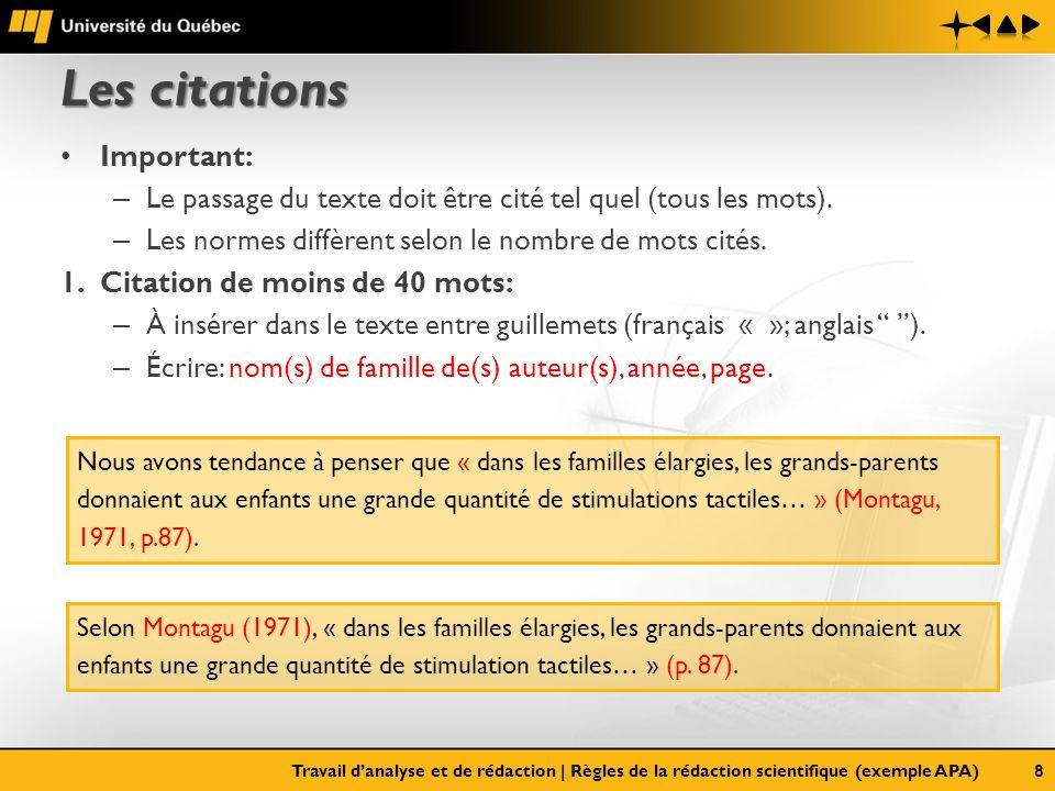 Les citations Important: – Le passage du texte doit être cité tel quel (tous les mots). – Les normes diffèrent selon le nombre de mots cités. 1.Citati