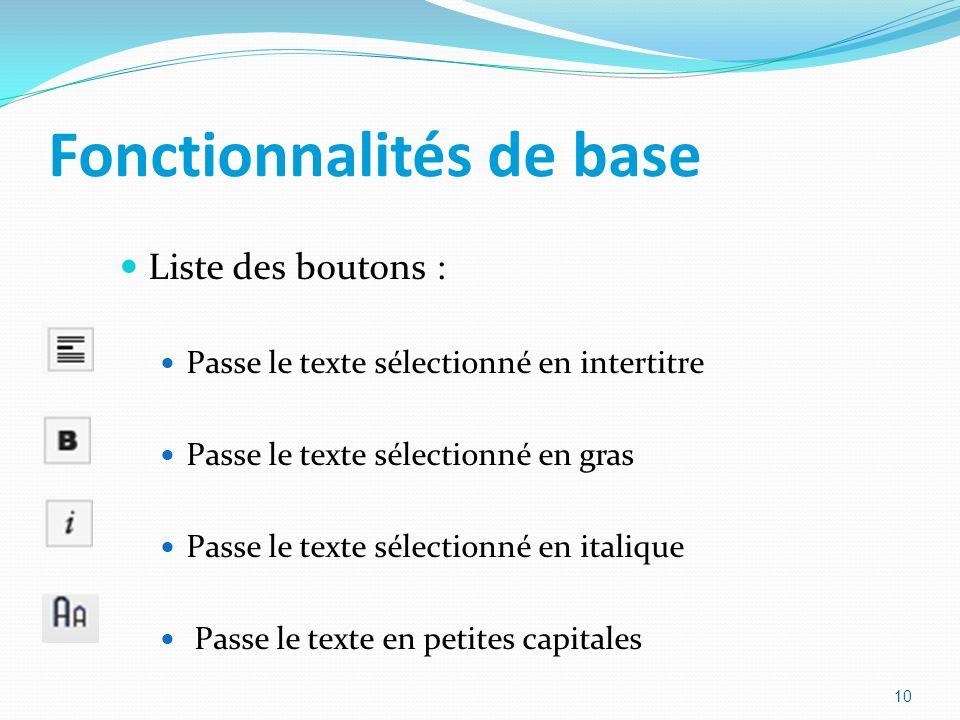 Fonctionnalités de base Liste des boutons : Passe le texte sélectionné en intertitre Passe le texte sélectionné en gras Passe le texte sélectionné en