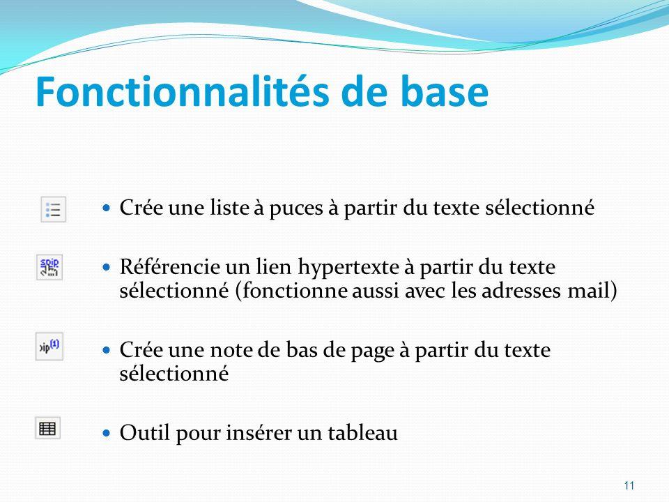 Fonctionnalités de base Crée une liste à puces à partir du texte sélectionné Référencie un lien hypertexte à partir du texte sélectionné (fonctionne a