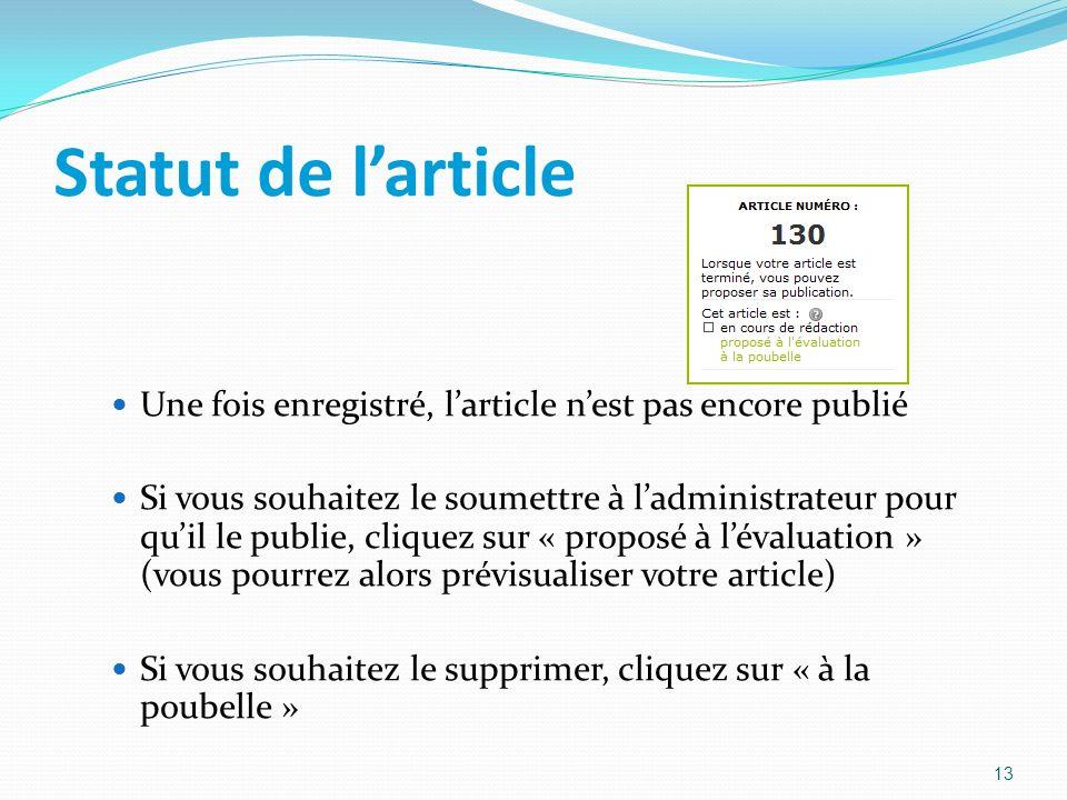 Statut de larticle Une fois enregistré, larticle nest pas encore publié Si vous souhaitez le soumettre à ladministrateur pour quil le publie, cliquez