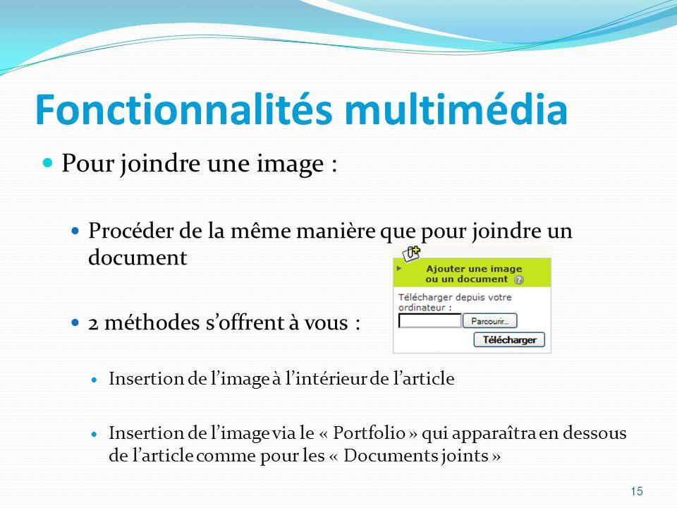 Fonctionnalités multimédia Pour joindre une image : Procéder de la même manière que pour joindre un document 2 méthodes soffrent à vous : Insertion de