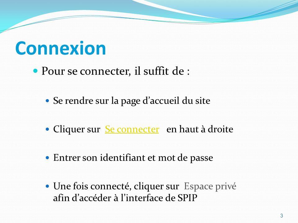 Connexion Pour se connecter, il suffit de : Se rendre sur la page daccueil du site Cliquer sur Se connecter en haut à droiteSe connecter Entrer son identifiant et mot de passe Une fois connecté, cliquer sur Espace privé afin daccéder à linterface de SPIP 3